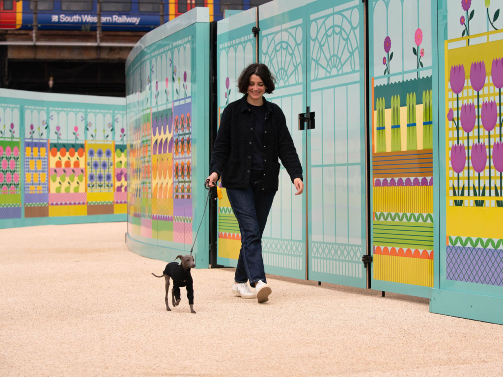 Visitor walking along New Covent Garden Market's Merchant's Way pathway